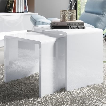 Set of 2 Nest of Tables in White High Gloss - Tiffany