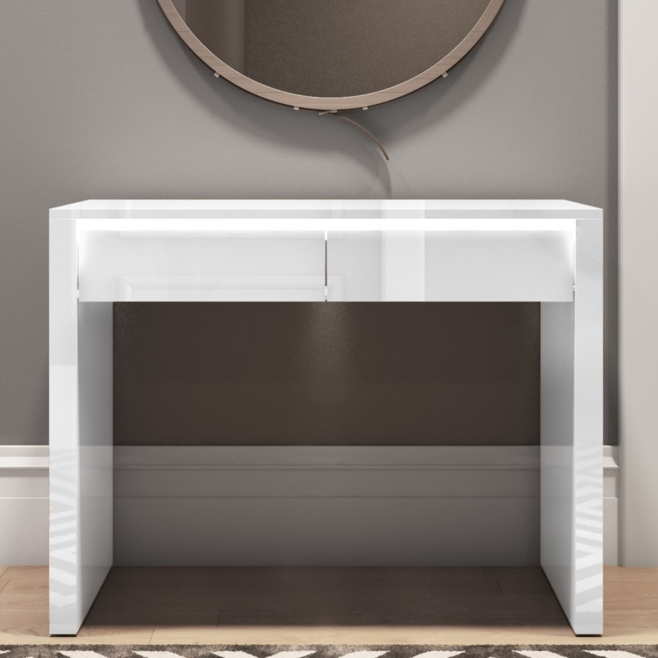 timeless design 4d5b0 d6764 Tiffany White High Gloss Console Table with LED Feature - 2 Drawers