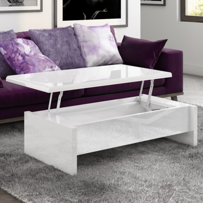 Tiffany White High Gloss Coffee Table With Lift Top Storage Buy It
