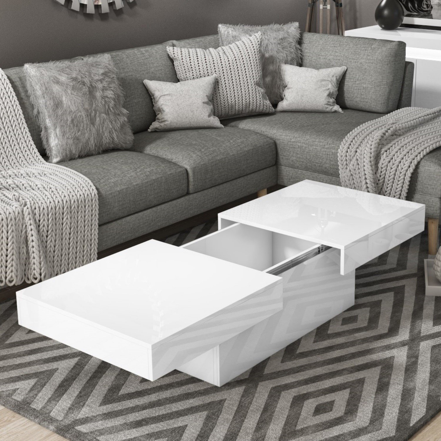 Storage Coffee Table In White Gloss Tiffany Buy It Direct