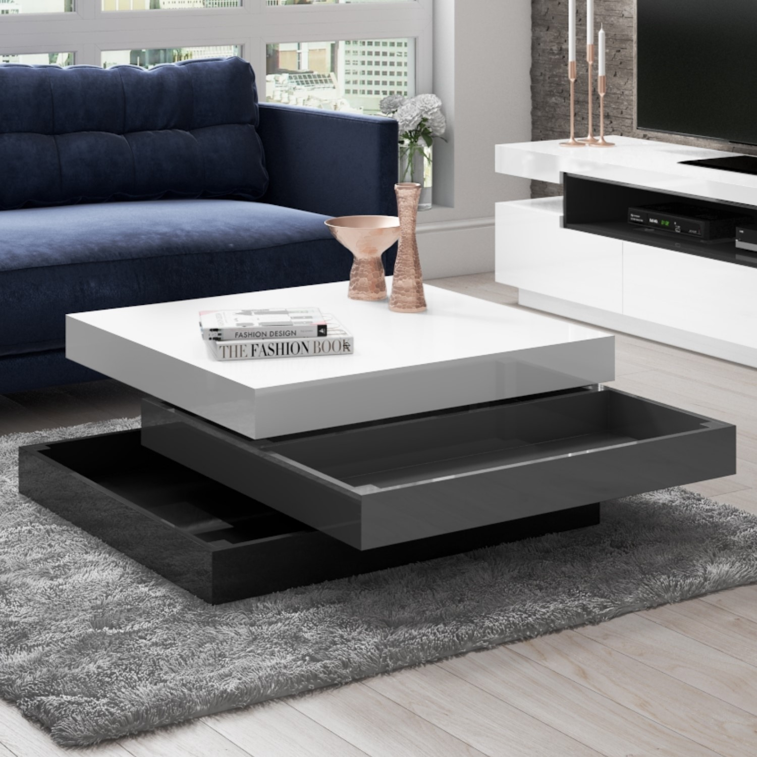 Harlow White High Gloss Coffee Table With Grey Rotating Storage