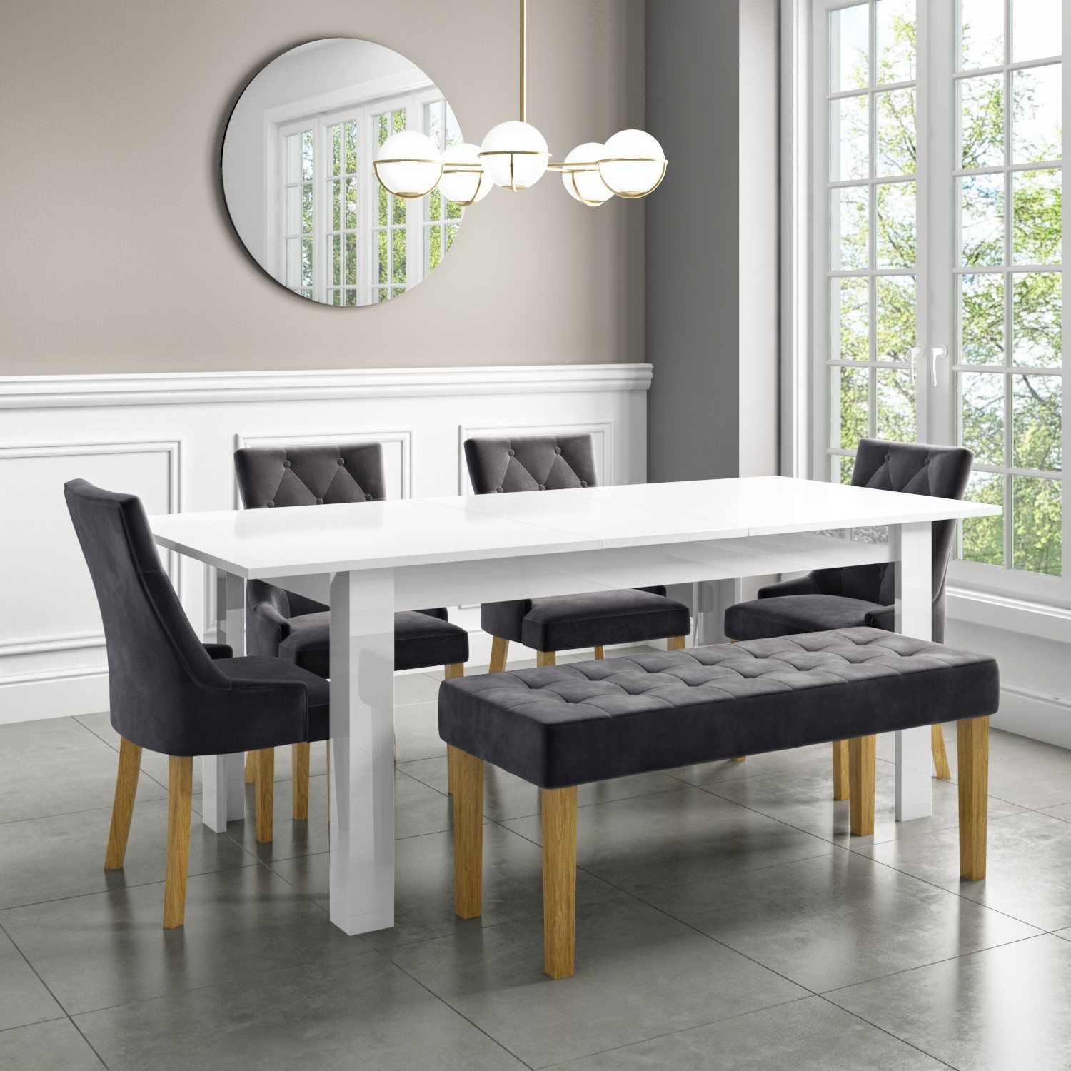 White Extendable Dining Table with High Gloss Finish   9 Seater   Vivienne