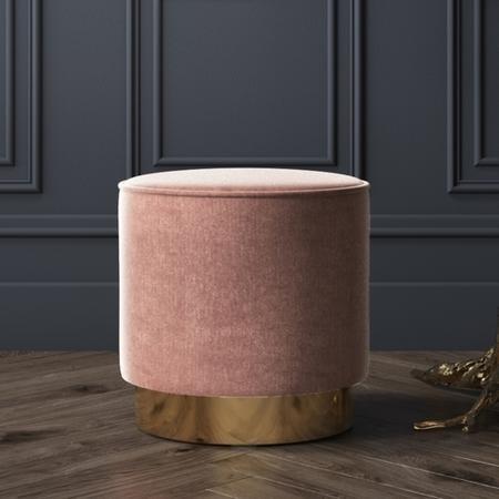 Xena Velvet Pouffe In Blush Pink Small Round Upholstered