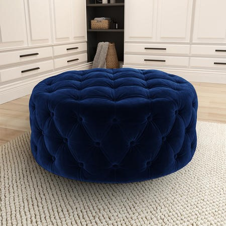 Xena Large Quilted Button Pouffe in Navy Velvet