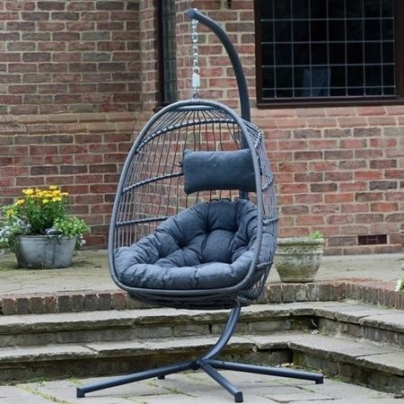 Outdoor Foldable Hanging Egg Chair in Grey Rattan - Holly