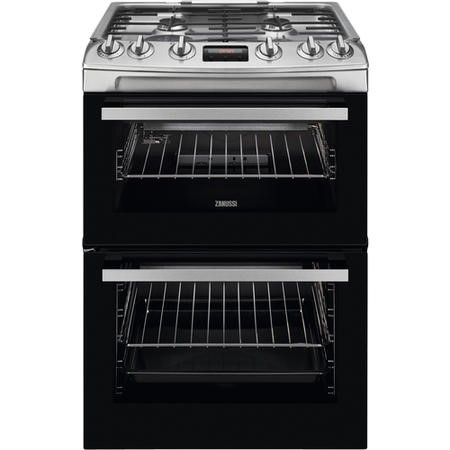 Zanussi ZCG63250XA 60cm Double Oven Gas Cooker With Electric Grill - Stainless Steel