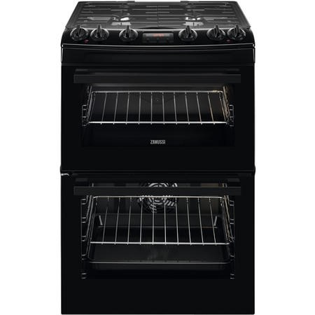 Zanussi ZCK66350BA 60cm Double Oven Dual Fuel Cooker With Lid - Black