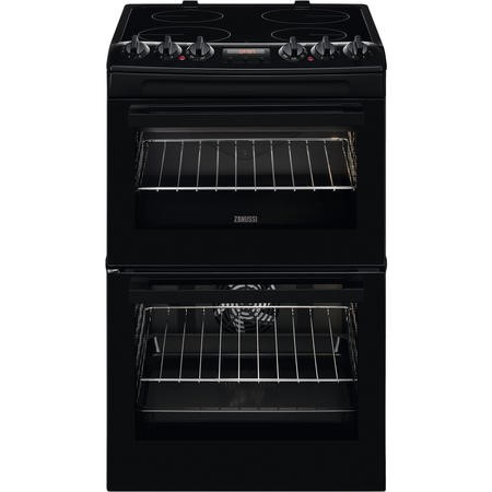 Zanussi ZCV46250BA 55cm Double Oven Electric Cooker With Ceramic Hob - Black