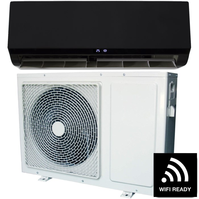 18000 Btu Black Hitachi Powered Smart Wall Mounted Split