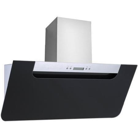 electriQ 60cm Angled Black Glass & Stainless Steel Cooker Hood Includes Optional Chimney