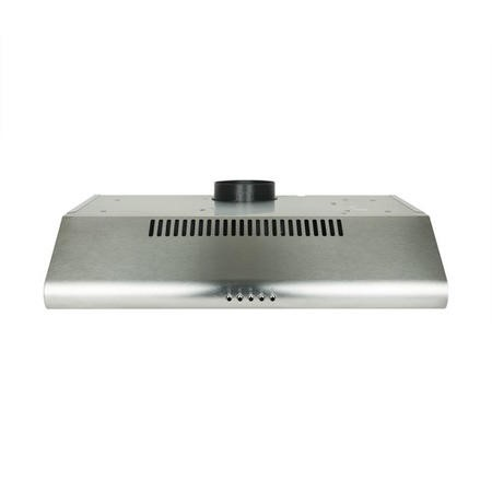 electriQ 60cm Stainless Steel  Visor Hood with Glass Front Top & Rear Venting  -  5 Year Warranty