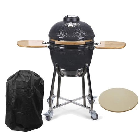 Boss Grill 22 Inch Charcoal Ceramic Kamado Style Grill Egg BBQ in Grey with Wooden Shelves