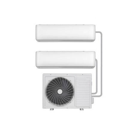 Multi-split 18000 BTU SmartApp WIFI Inverter Wall Air Conditioner with two 9000 BTU indoor units to a single outdoor