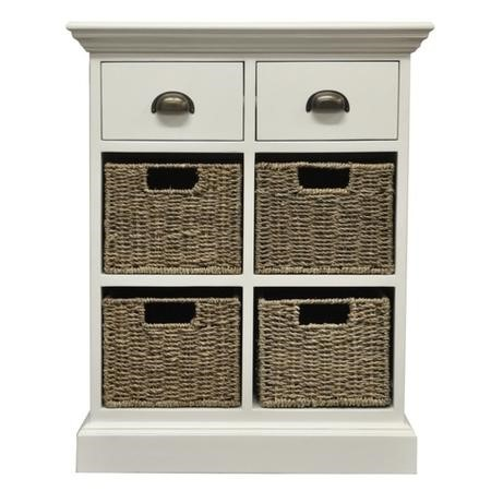 White Hallway Storage Chest with 2 Drawers 4 Wicker Baskets