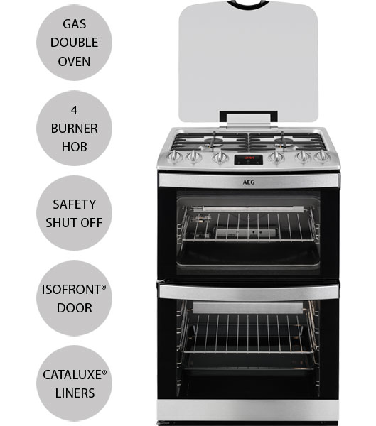 AEG 17166GM-MN Double Oven Gas Cooker