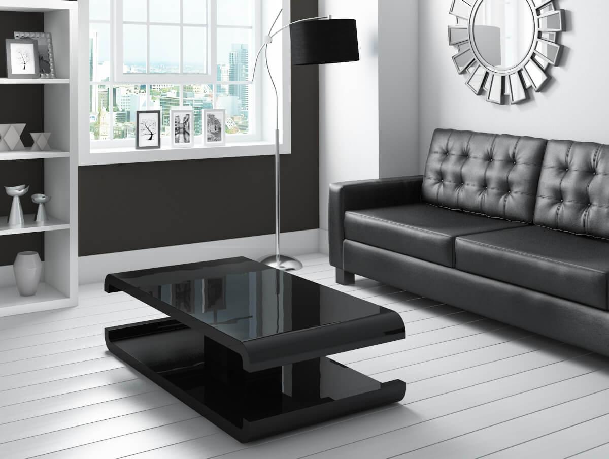 High Gloss Black Coffee Table With Led Lighting Tiffany