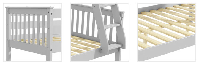 d353fa042a4 Oxford Triple Bunk Bed in Light Grey - Small Double - Buy It Direct