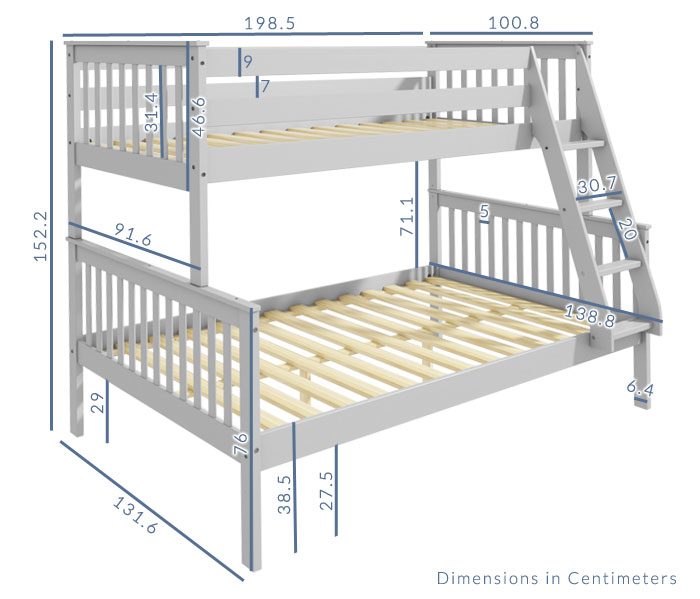 Oxford Grey Small Double Bunk Dimensions Lala Bed