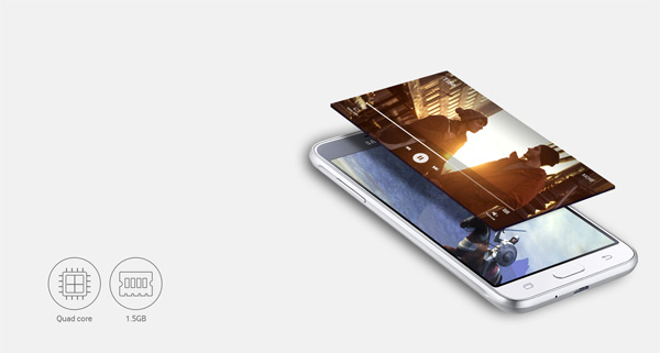 Samsung Galaxy J3 quad-core processor high performance and smooth multitasking
